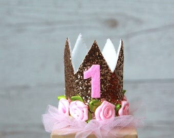 Glitter First Birthday Crown | Glitter Crown | Gold Crown | Sparkle Crown | First Birthday Glitter Tiara With Number 1 | Princess Cake Smash