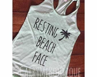 Resting Beach Face, beach face, racer back tank top.