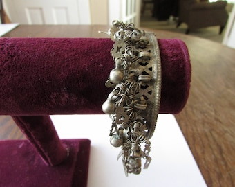 Vintage Silver Dangle Cuff Bracelet Bangle with Pin Closure