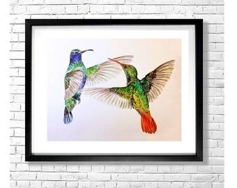 BIRD PLAY - Watercolor Hummingbirds Painting Art Print 8.5 x 11 Green Blue Yellow Gray Brown Birds