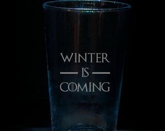 Game of Thrones Winter is Coming etched pint glass, birthday gift, geek gift, 21st birthday gift, 18th birthday gift