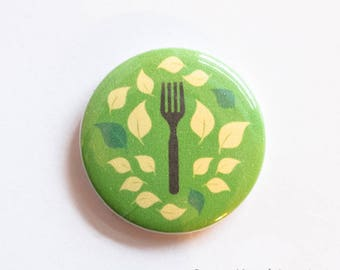 Green Fork Vegan / Vegetarian / Herbivore button badge (25mm)