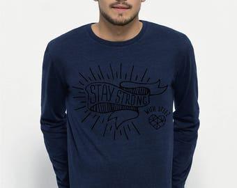 TEE-SHIRT homme Manches longues 100% Coton Bio doux équitable Bleu Jean - Shuffles Denim 113