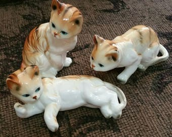 Vintage Bone China Tabby Cat Figurines, Cat Lover's Gift, Cat Trio Ornaments, Giftcraft Bone China