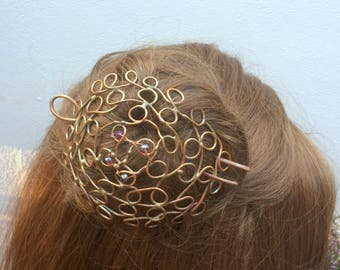 copper hair barette, copper hair clip, hair pin, hair fork, copper hair brooch, copper hair stick, copper hair bun