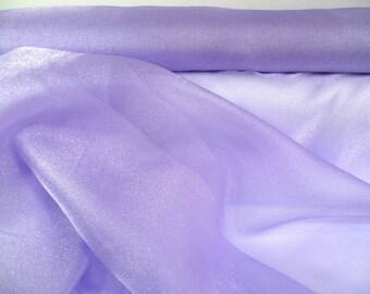 SALE PRICE  **  Tissu ORGANZA Cristal, Lilas Cristal. Lilac, Mauve Trés Belle 115cm au métre.  Lilac Crystal Organza, New Stock