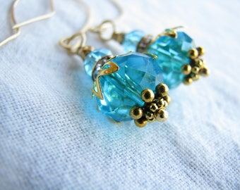 Turquoise earrings Gold earrings Dangle earrings Mother Gift for her Crystal earrings Shabby earrings Wedding earrings Bridesmaid earrings