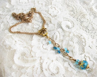 Turquoise necklace Gold necklace Crystal necklace Edwardian necklace Victorian necklace Long pendant Blue necklace Xmas gift Birthday gift