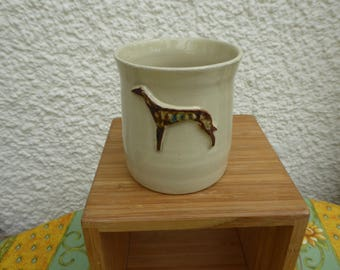 Stoneware mug with Lurcher/Greyhound