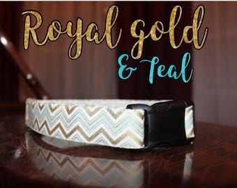 Royal Gold & Teal Zigzag Collar
