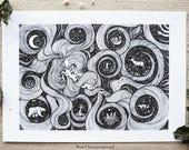 Artemis   Greek Goddess, Pen drawing, Animals, Nature, Woman   A4 size Print