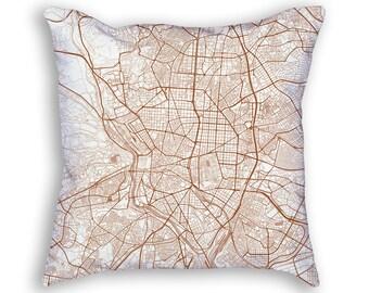 Madrid Spain Street Map Throw Pillow