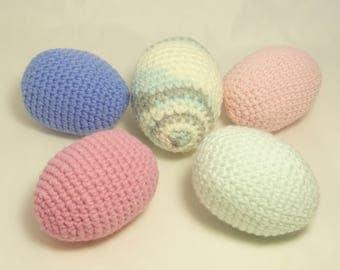 Set of 5 Crochet Easter Eggs,  Easter Decorations,Easter Gift, Crochet Easter,Easter Party