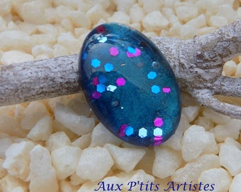 cabochon glass 18 x 13 mm hand painted