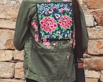 Embellished army jacket, embellished military