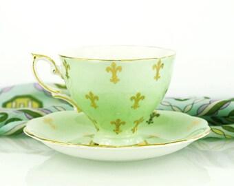 Vintage Royal Standard Tea Cup and Saucer - Mint Green with Fleur de Lis Pattern