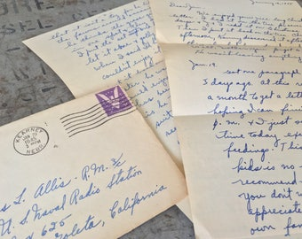 Vintage Letter, Collectible Letter Sent in 1945 during WWII using 3c Win The War Stamp, Paper Goods, Scrapbook Ephemera, WWII Correspondence
