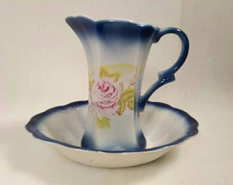 Vintage Small Ceramic Pitcher and Basin Set