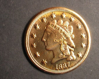 1837 United States GOLD 2 1/2 DOLLARS Quarter EAGLE Classic Head Oversized Copy