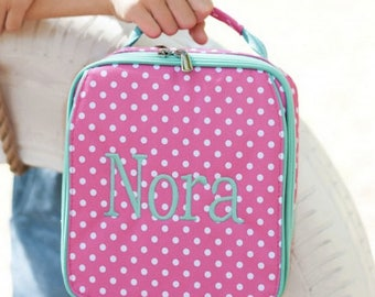 Monogrammed Lunch Box ~ Pink dot Lunch box ~ Custom Girls lunch box