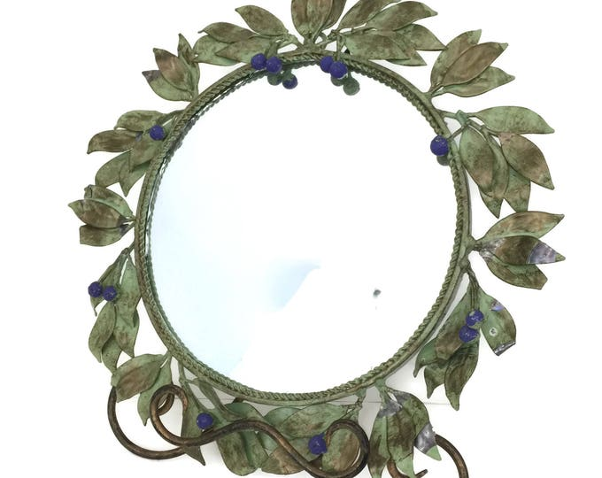 Vintage Tole Mirror Framed with Leaves and Berries