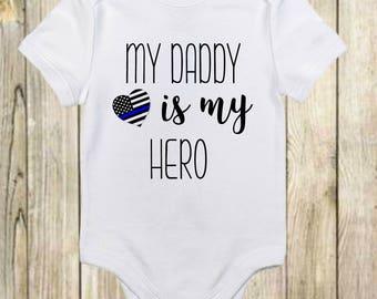 Dad Police Onesies® - Police Hero Baby Onesies® Bodysuit - Funny Boy Onesies® Bodysuit - Baby Girl Onesies® Bodysuits - Father's Day Onesie®