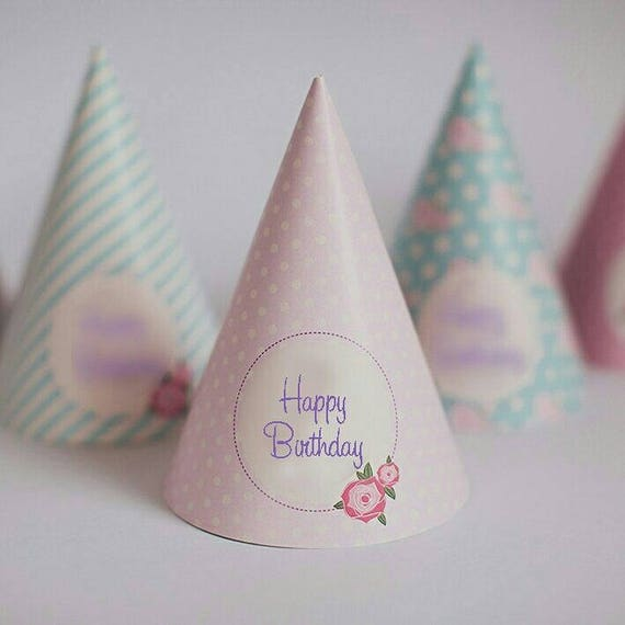 Shabby Chic Happy Birthday Party Hats Vintage Paper