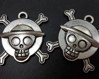Large pendant skull skeleton manga with tray - silver pendant - cabochon 29 mm