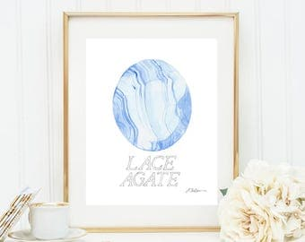 Lace Agate Watercolor Rendering printed on Paper
