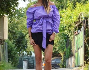 New Loose Elegant Purple Shirt, Cotton Shirt, Oversize Maxi Top, Summer Shirt, Day Shirt, Party Shirt by SSDfashion
