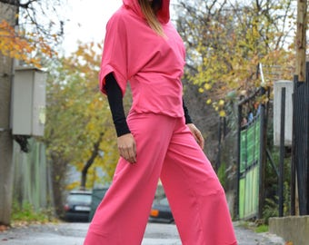 Womens Pink Cotton Set, Maxi Elegant Sport Set, Drop Crotch Pants, Hooded Sweatshirt by SSDfashion
