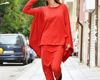 Oversize Red Tracksuit, Drop Crotch Pants, Extravagant Sweatshirt, Asymmetrical Cotton Set by SSDfashion