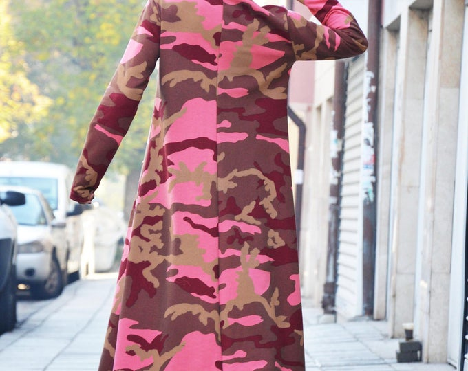 Military Maxi Hooded Dress, Quilted Cotton Kaftan Dress, Plus Size Long Dress, Oversized Casual Dress by SSDfashion