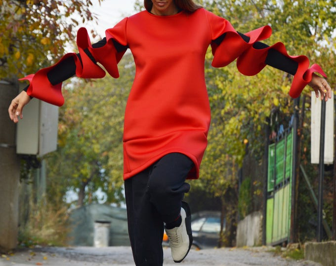 Extravagant Sleeves Plus Size Neoprene Tunic, Oversize Red Sexy Blouse, Maxi Casual Tunic by SSDfashion