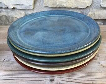 Pottery Dinner Plates set of Six