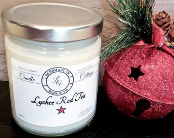 Organic Lychee Red Tea Soy Candle-Vegan Candles-Scented Candle-Holiday Gifts-White Candles- Signature Scent-Natural Candles