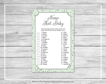 Mint and Silver Baby Shower Name That Baby Game - Printable Baby Shower Name That Baby Game - Mint and Silver Confetti Baby Shower - SP152