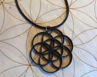 Flower of Life Wooden Pendant - Choose Your Color - Birch Wood - Sacred Geometry