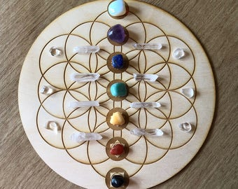 Flower of Life Chakras Crystal Grid - 3, 6, 9, or 12 Inches - Wooden Crystal Grid - Sacred Geometry - Wood Crystal Grid - Flower of Life