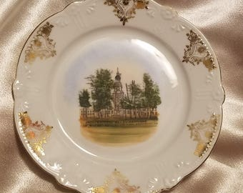 Vintage Souvenir Ware Independence Hall Philadelphia Pennsylvania Scalloped Plate Made in Germany
