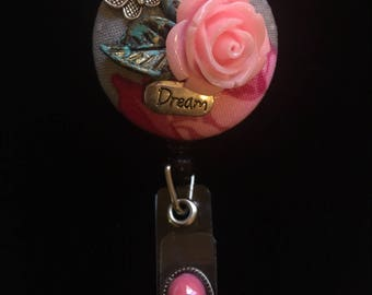 Dreams and Roses-Nurse Retractable ID Badge Reel/ RN Badge Holder/Doctor Badge Reel/Nurse Badge Holder/Nursing Student Gifts