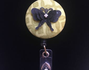 Midnight Butterfly -Nurse Retractable ID Badge Reel/ RN Badge Holder/Doctor Badge Reel/Nurse Badge Holder/Nursing Student Gifts