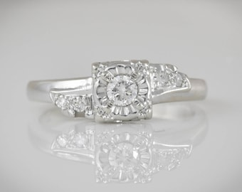 Art Deco 1930-40's .11 ctw Center Diamond, .15 ctw total; 14K Solid White Gold  Engagement, Wedding, Promise or Stacking Ring Size 5.5 LB317