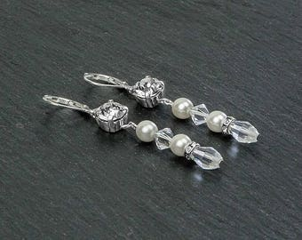 KRISTEN 2 bridal earrings, clear Swarovski crystal beads and cabochons, white or ivory Swarovski pearls