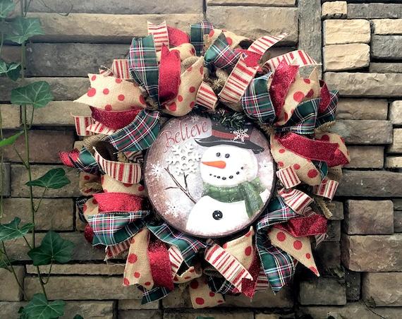Christmas Wreath, Snowman Wreath, Holiday Wreath, Burlap Wreath, Farmhouse Wreath, Christmas Decor, Farmhouse Decor, Farmhouse, Christmas