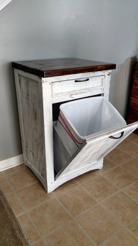 Tilt Out Trash Bin Rustic Tilt Out White Trash Can Cabinet