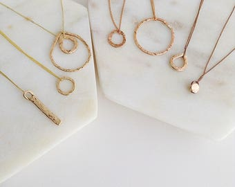 Solid Gold Circle Necklace. Pure Gold Circle Necklace. Circle Necklace. Layering Necklace. Perfect eternity gold ring necklace.