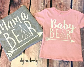 Mama Bear Baby Bear Shirt Set, Mama Bear Shirt, Baby Bear Infant Bodysuit or Toddler Shirt, Mommy and Me Shirts