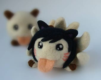 League of Legends Inspired Ahri Poro Plush Geeky Gamer Gift Fan Art Chibi Cute Toy Fairy Creature Needle Felting Video Game fantasy fox