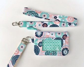 Zip ID Case - Personalized Keychain- Wristlet Key Fob - Monogram Key Chain - Keychain wristlet - Mini pouch - Gift set keychain
